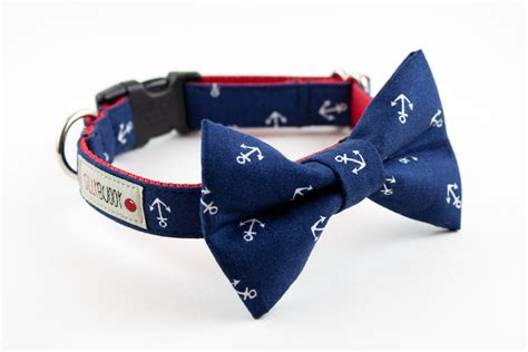 navy blue anchor bow tie collar