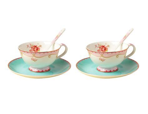Coffe Set 2 jsaron china vintage porcelain tea cup spoon and saucer set coffee mug set of 2 in coffee