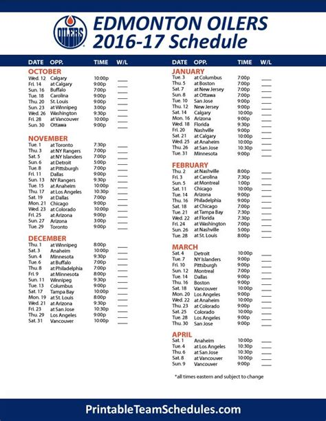 printable oilers schedule 17 best images about nhl hockey schedule 2017 on pinterest