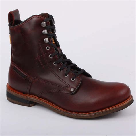caterpillar orson mens laced leather boots oxblood