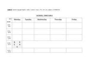 Timetable School Template by School Timetable Template For