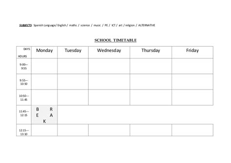 kindergarten timetable template school timetable template for