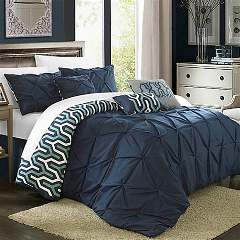 navy king comforter buy chic home trina 7 piece reversible king comforter set