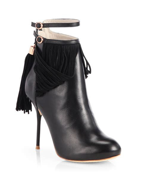 webster leather suede tassel trimmed ankle boots in