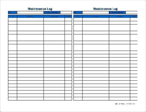 5 Equipment Maintenance Log Templates Word Templates Equipment Maintenance Log Template Excel
