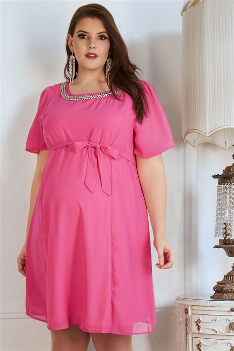 Napoclean Strong By Nry Fashion bump it up maternity pink chiffon dress with