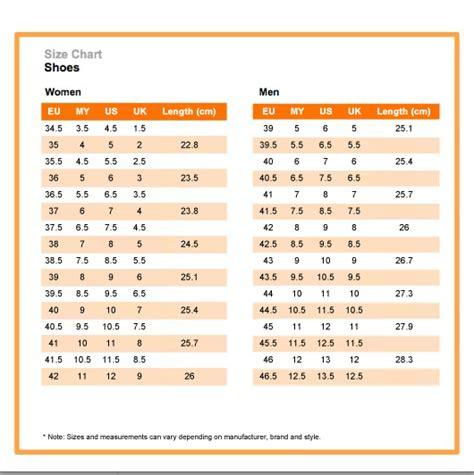 shoe size chart zalora us size chart for philippines school uniforms size chart