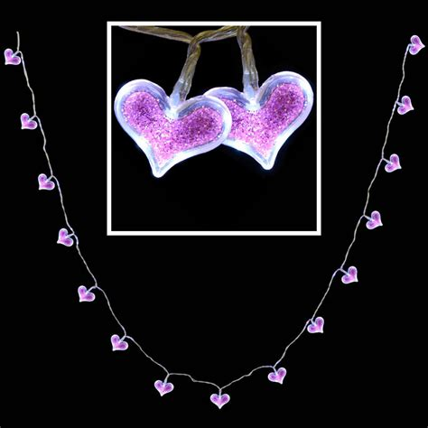 15 Battery Operated Crystal Pink Glitter Led Heart Shaped Shaped Lights