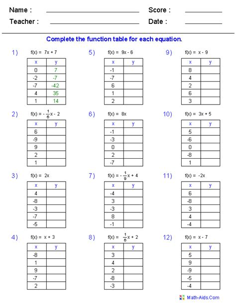 Function Table Worksheet function table worksheets function table in and out