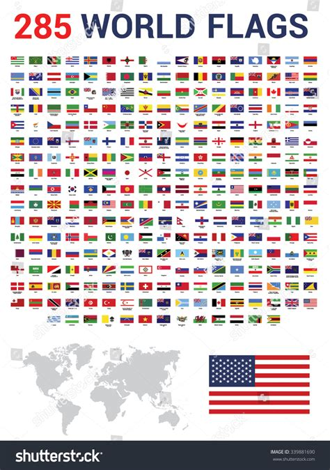 flags of the world by colour vector set of 285 world flags of sovereign states with