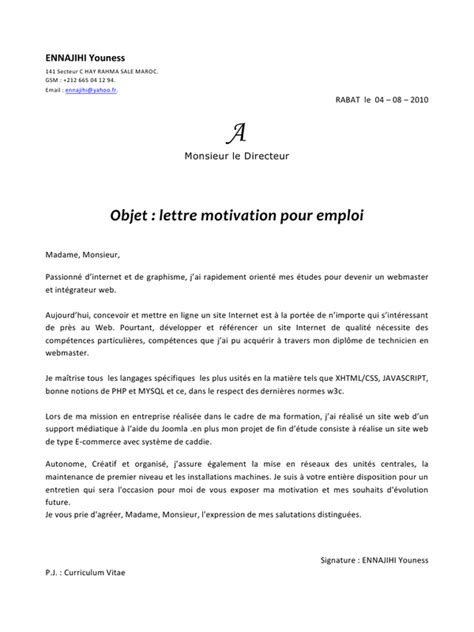 Lettre De Motivation école Webmaster Exemple De Lettre De Motivation Webmaster