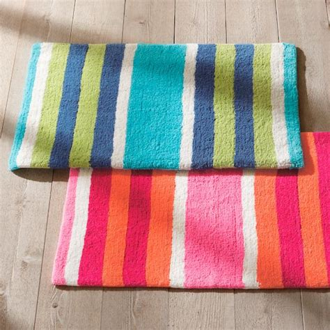 Striped Bathroom Rug Multi Stripe Bath Rug Grandin Road