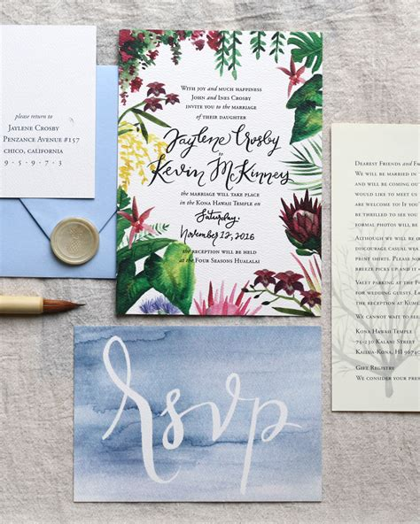 luau wedding invitations illustrated tropical hawaiian wedding invitations