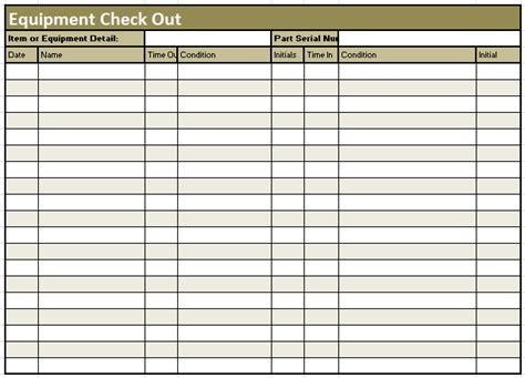 equipment check out sheet template format exle