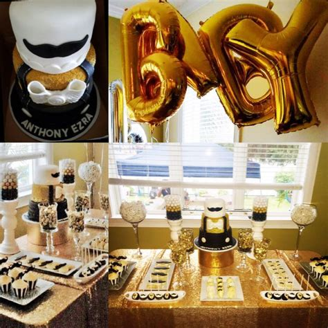 Black And White Themed Baby Shower by My Gentlemen S Baby Shower Black White And Gold