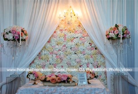 Wedding Backdrop With Chandelier by Artificial Flower Wall For Rental And Purchase Vancouver
