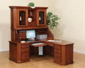 Corner Office Desk With Hutch Amish Fifth Avenue Executive Corner Roll Top Desk With Hutch