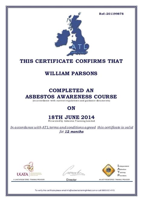 asbestos awareness certificate template asbestos awareness certificate