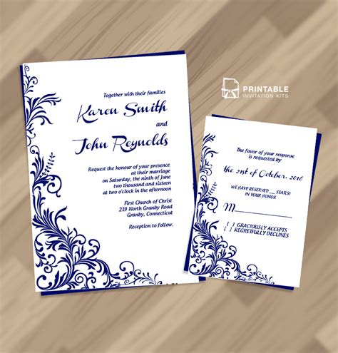Wedding Invitation Design Border by 2016 Foliage Borders Invitation And Rsvp Wedding Templates