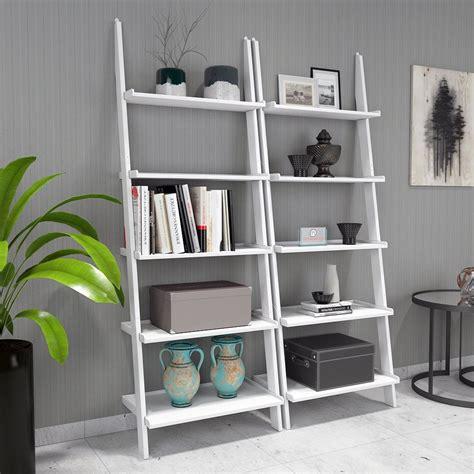home decor nation jasper leaning wall bookcase set of 2 ladder shelf white