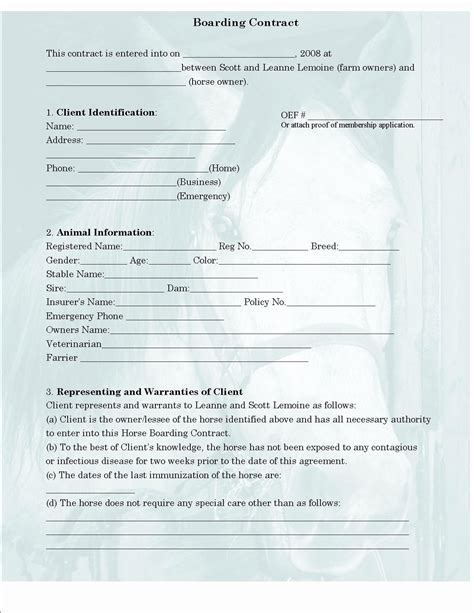 horse boarding contract template qualads