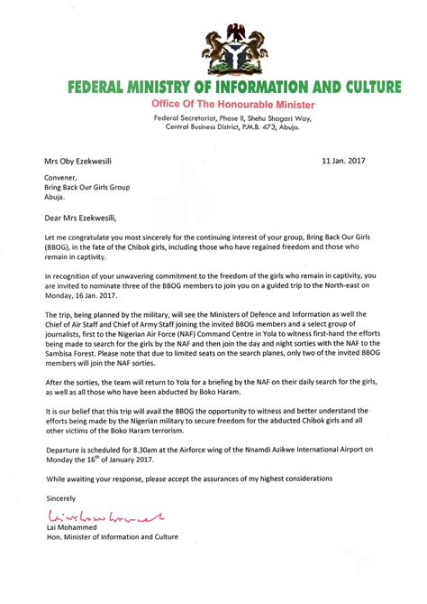 Invitation Letter Join Fg Invites Bbog For Tour Of Sambisa Bbog Replies With List Of Conditions Bellanaija