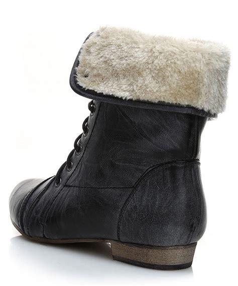 timeless faux fur trim ankle boots in black designer
