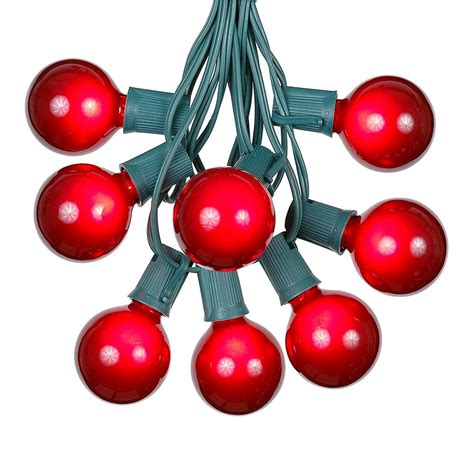 100 red g50 globe string light set on green wire novelty