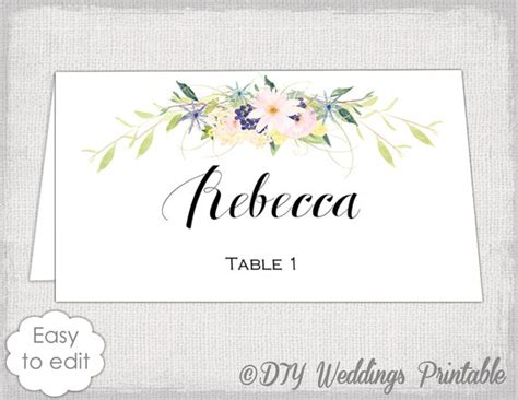 Diy Wedding Name Card Template by Place Card Template Name Cards Diy Flower