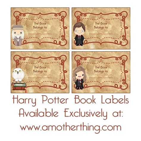printable harry potter name tags free printable harry potter book labels and lunch box