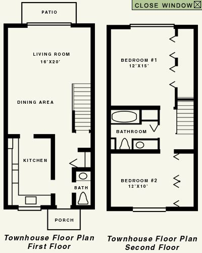 2 Story Townhouse Floor Plans by Townhouse 2 Story Floor Plan
