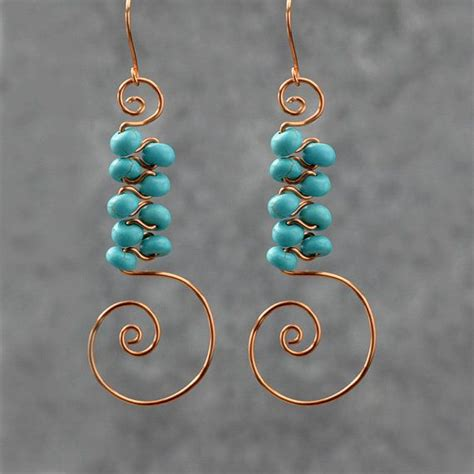 Handmade Earring Designs - turquoise scroll copper wire earrings handmade ani designs