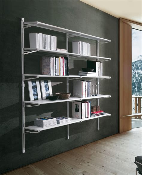 librerie metalliche marius libreria a parete casa ufficio in acciaio 196 x 37