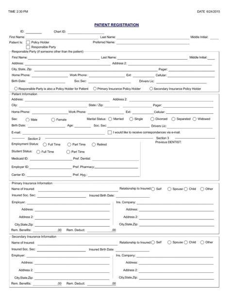 elegant patient registration form template free template 2018