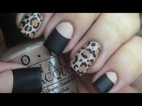 tutorial nail art converse matte leopard nail tutorial and halfmoon manicure youtube