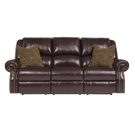 ashley leather sofa recliner ashley walworth leather reclining sofa in blackcherry
