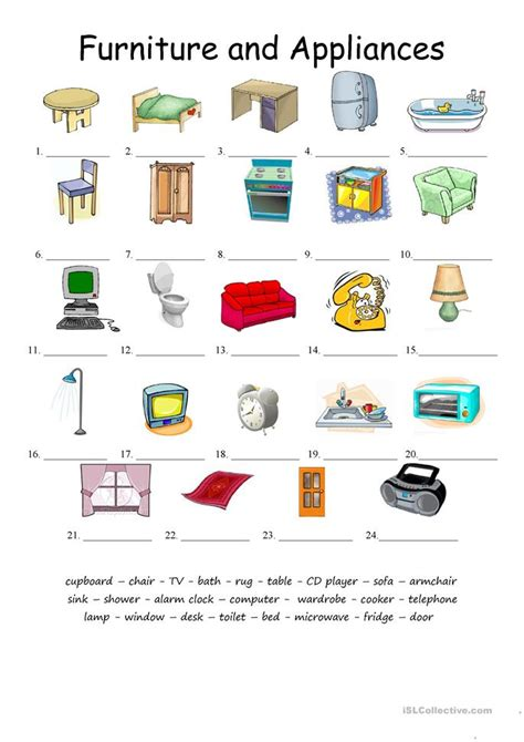 French Kitchen Ideas furniture and applicances matching worksheet free esl
