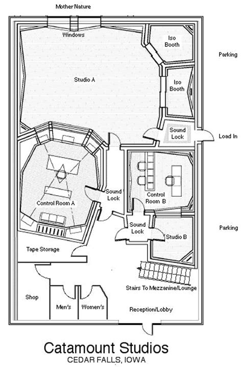 music studio layout same concept only with 2 seperate rooms a drum room and a