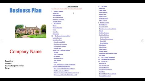 Bed And Breakfast Business Plan Template Youtube Bed And Breakfast Business Plan Template Free