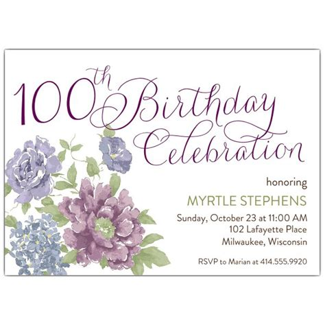Southgate 100th Birthday Invitations Paperstyle 100th Birthday Invitation Templates Free