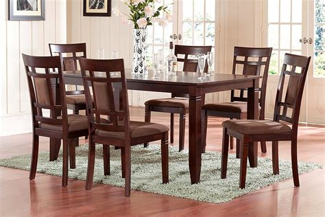 weston 7pc size 42x60 dining table with 6 wood seat chairs in black room 7 sets photo