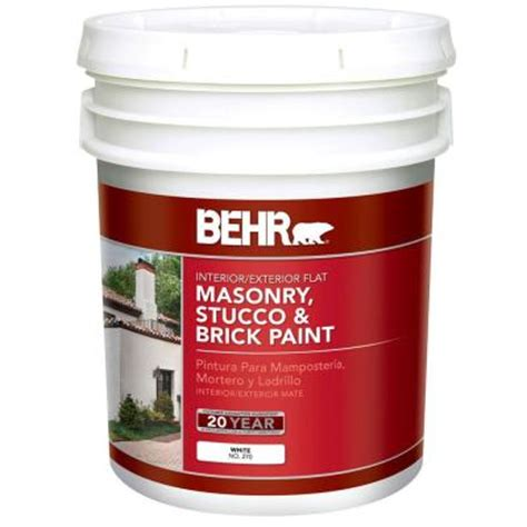 behr 5 gal white flat masonry stucco and brick paint 27005 the home depot