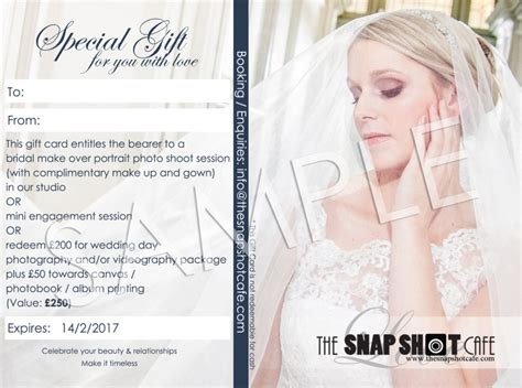 Wedding Gift Value by Gift Card Bridal Portrait Engagement Wedding Value
