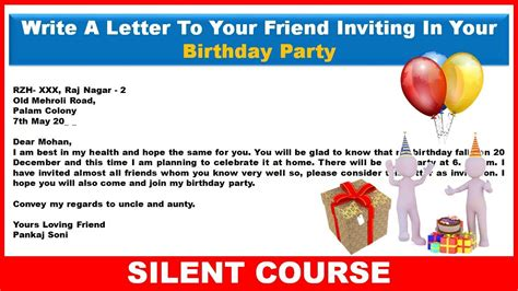 Invitation Letter To Your Friend write a letter to your friend inviting him to your