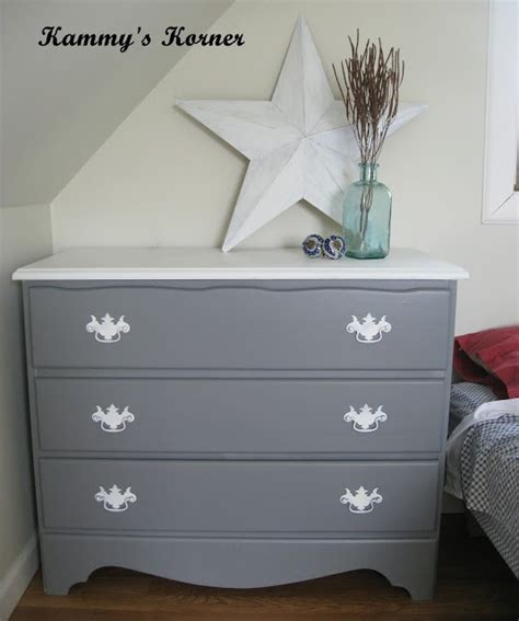 White And Grey Dresser by White Top And Handles With Gray It Furniture Redo