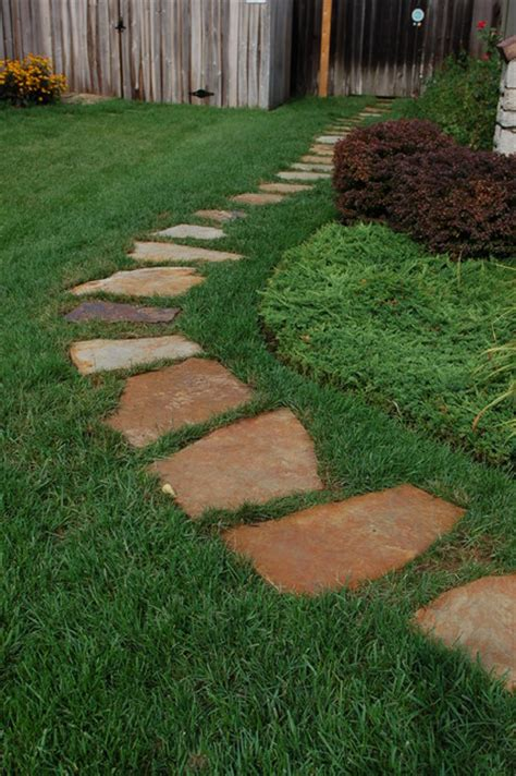 flagstone stepping stone path traditional landscape