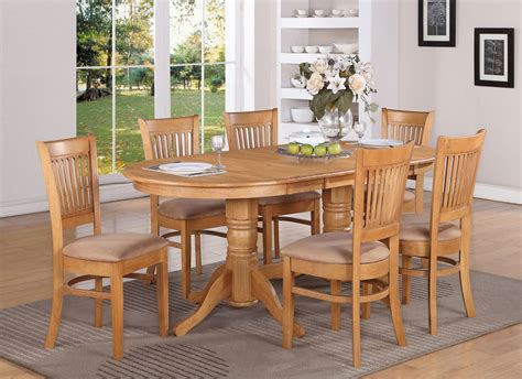 Dining Room Table And Chairs Set 7 Pc Oval Dinette Dining Room Set Table 6 Microfiber Upholstered Chairs Oak Ebay