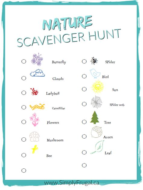 Home Decor Things Sale by Free Nature Scavenger Hunt Printable
