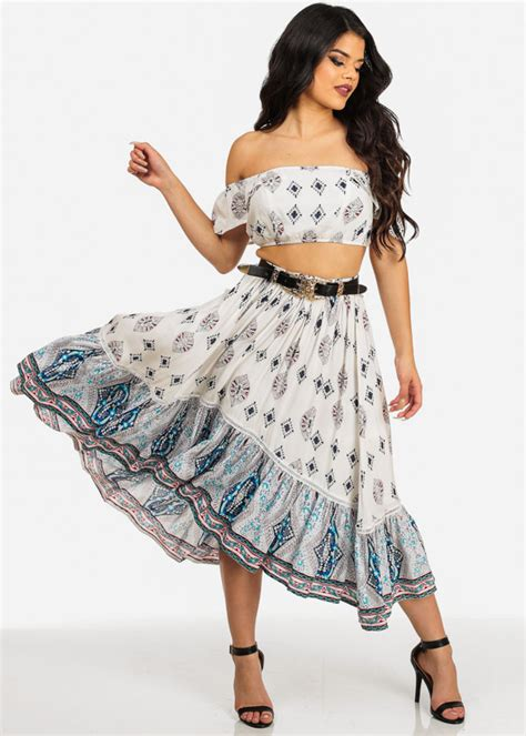 s shoulder ruffle crop top and skirt set with belt