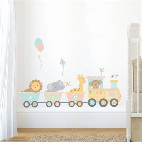 Pastel Jungle Train Wall Sticker Set By Nutmeg Best Wall Decals For Nursery